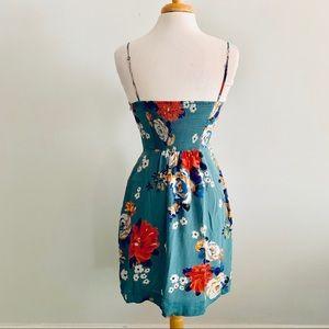 Anthropologie Dresses - Anthropologie Blue Silk Floral Dress Sz 2